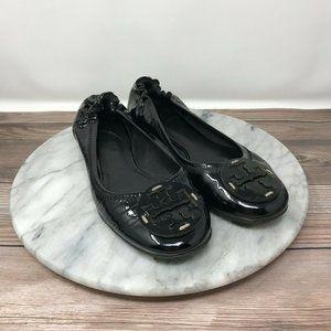 Tory Burch Reva Black Patent Leather Ballet Flats